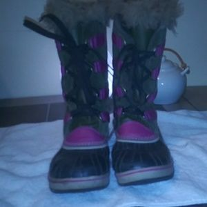 Pink and Brown Sorel Winter Boots